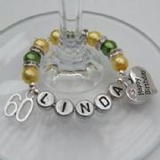 60th Birthday Personalised Wine Glass Charm - Double Charm Style